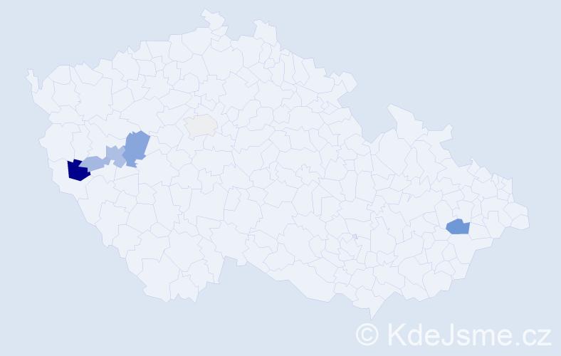 Příjmení: 'Cvalín', počet výskytů 18 v celé ČR