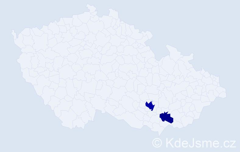 Příjmení: 'Anastasiadou', počet výskytů 5 v celé ČR