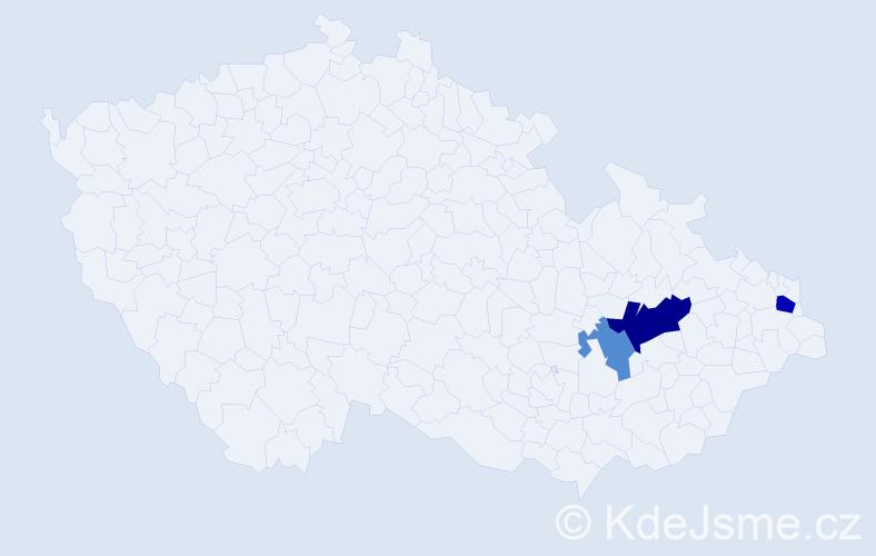 Příjmení: 'Kardohelyi', počet výskytů 6 v celé ČR