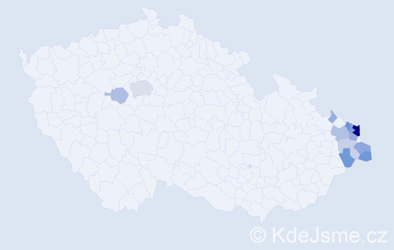 Příjmení: 'Gorgolová', počet výskytů 55 v celé ČR