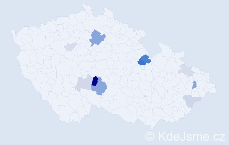 Příjmení: 'Gapková', počet výskytů 20 v celé ČR