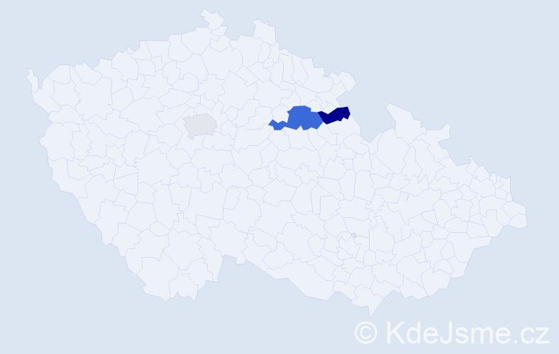 Příjmení: 'Hardoš', počet výskytů 5 v celé ČR