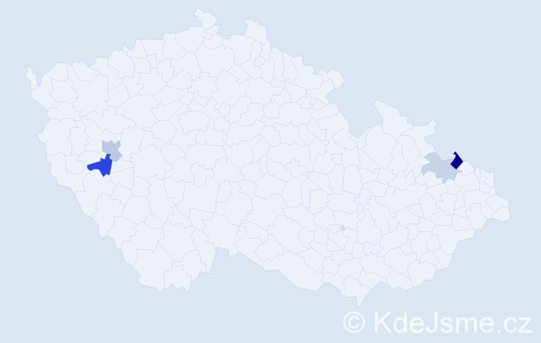 Příjmení: 'Gadačová', počet výskytů 8 v celé ČR