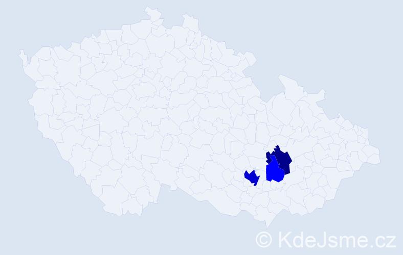 Příjmení: 'Justanová', počet výskytů 8 v celé ČR