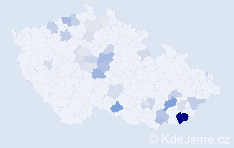 Příjmení: 'Brhlík', počet výskytů 107 v celé ČR