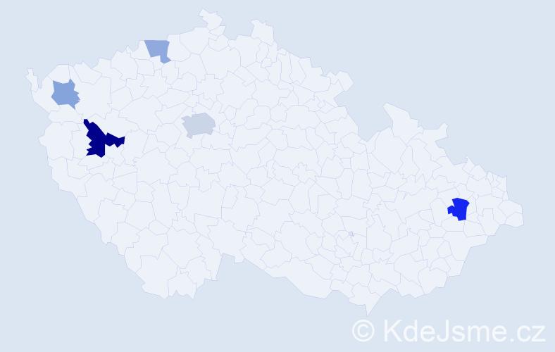 Příjmení: 'Kirthová', počet výskytů 10 v celé ČR