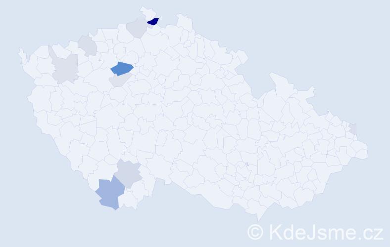 Příjmení: 'Brtinský', počet výskytů 20 v celé ČR