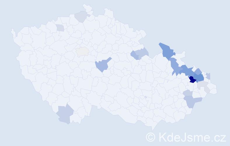 Příjmení: 'Bahrová', počet výskytů 53 v celé ČR
