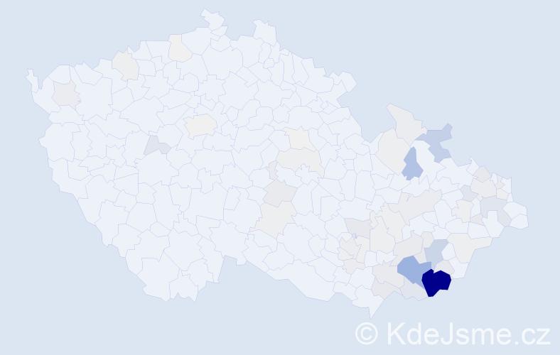 Příjmení: 'Buráň', počet výskytů 256 v celé ČR