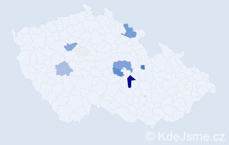 Příjmení: 'Kosár', počet výskytů 12 v celé ČR