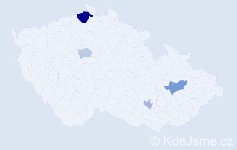 Příjmení: 'Bruno', počet výskytů 6 v celé ČR