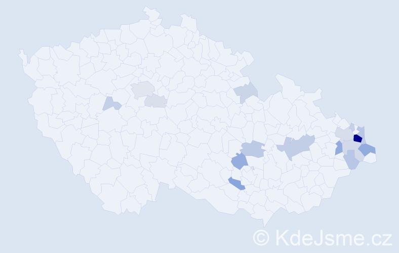 Příjmení: 'Bilan', počet výskytů 70 v celé ČR