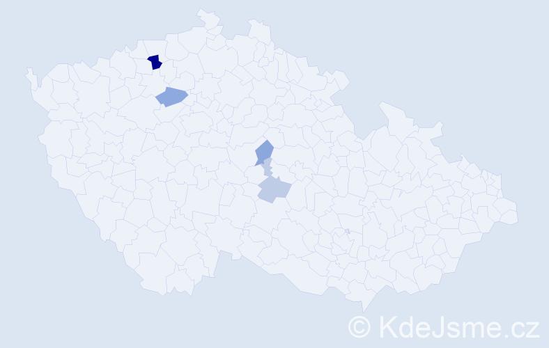 Příjmení: 'Lavová', počet výskytů 15 v celé ČR