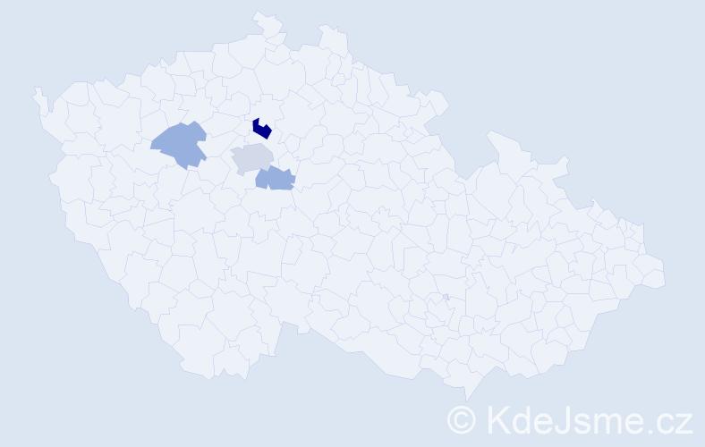 Příjmení: 'Adamček', počet výskytů 9 v celé ČR