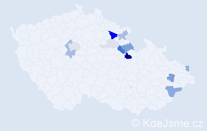 Příjmení: 'Lédr', počet výskytů 37 v celé ČR