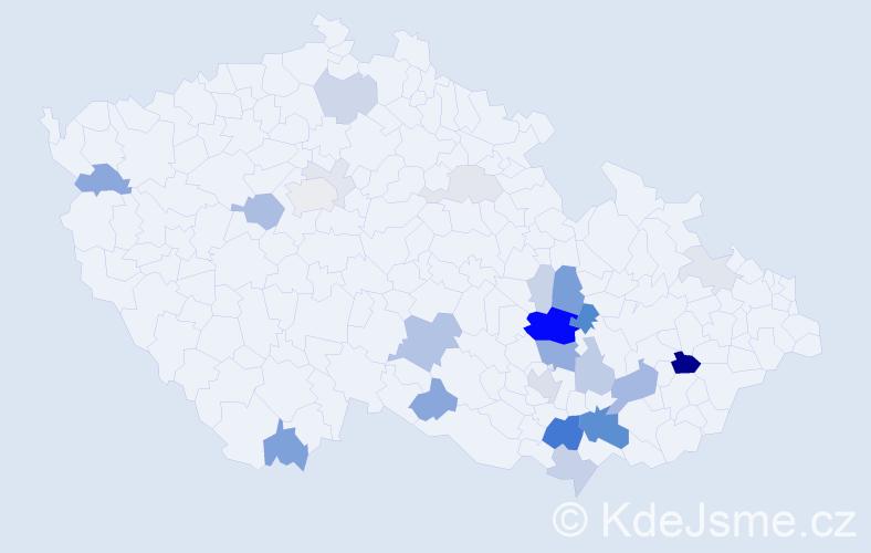Příjmení: 'Honzírek', počet výskytů 80 v celé ČR