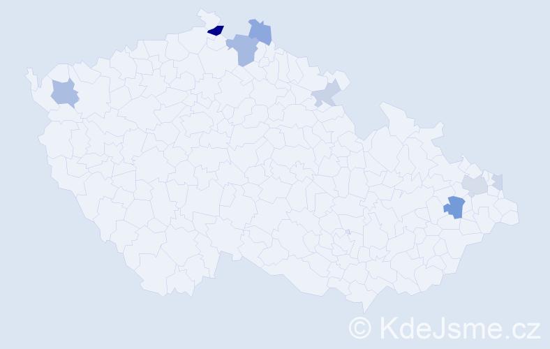 Příjmení: 'Čapucha', počet výskytů 17 v celé ČR