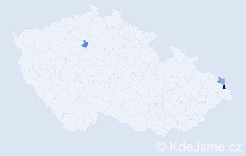 Příjmení: 'Derján', počet výskytů 5 v celé ČR
