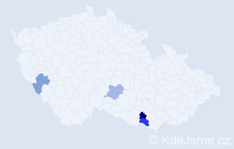 Příjmení: 'Colašová', počet výskytů 4 v celé ČR