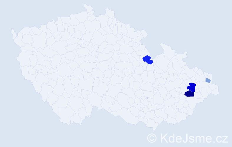 Příjmení: 'Banašák', počet výskytů 6 v celé ČR