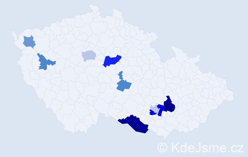 Příjmení: 'Katrnoška', počet výskytů 16 v celé ČR