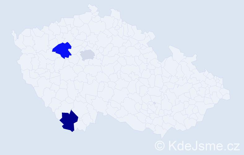 Příjmení: 'Erbák', počet výskytů 3 v celé ČR