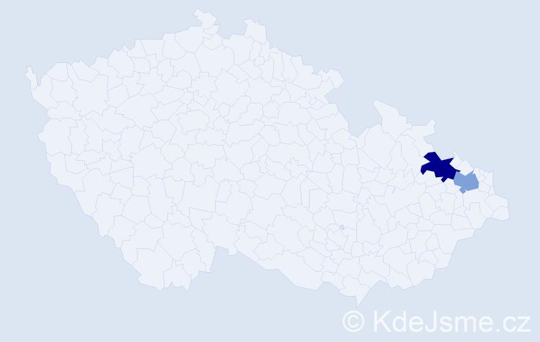 Příjmení: 'Jantošík', počet výskytů 5 v celé ČR