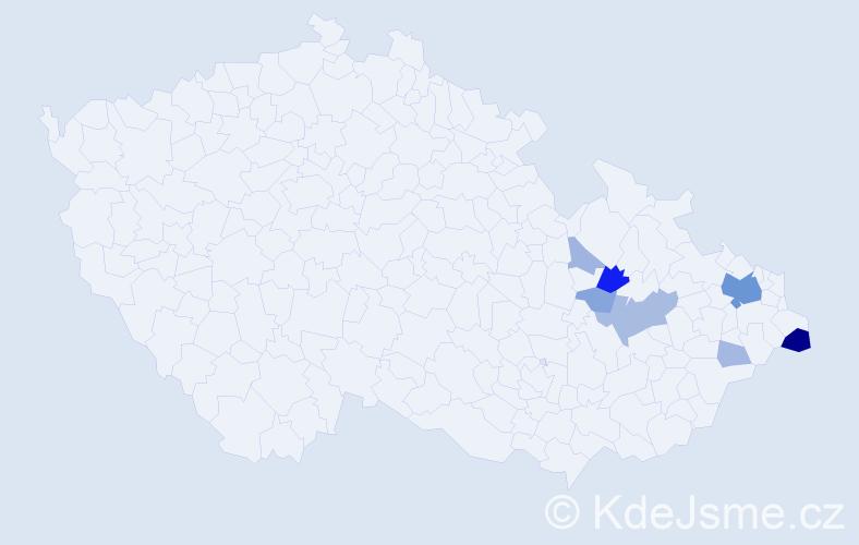 Příjmení: 'Habustová', počet výskytů 26 v celé ČR