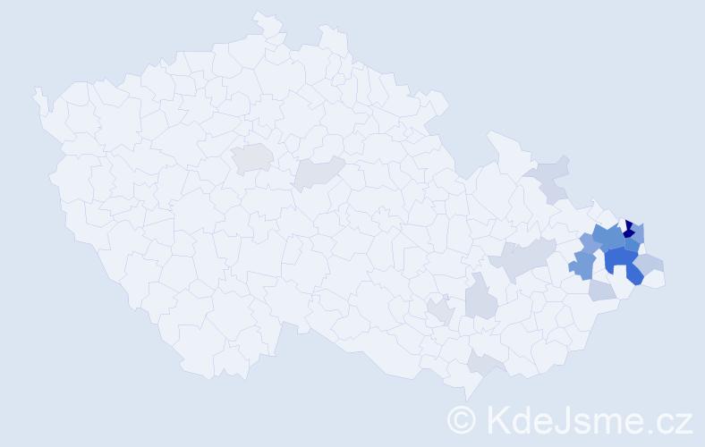 Příjmení: 'Lapišová', počet výskytů 104 v celé ČR