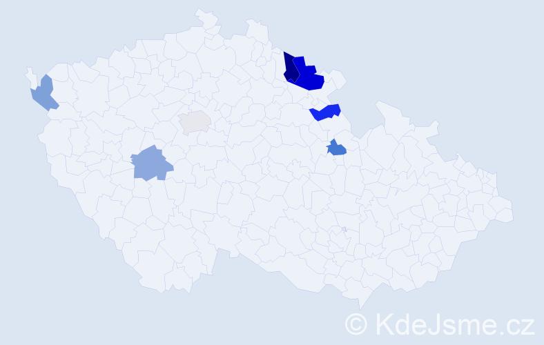 Příjmení: 'Hainišová', počet výskytů 11 v celé ČR