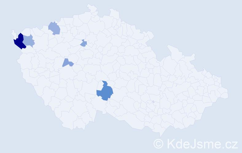 Příjmení: 'Čeháková', počet výskytů 17 v celé ČR