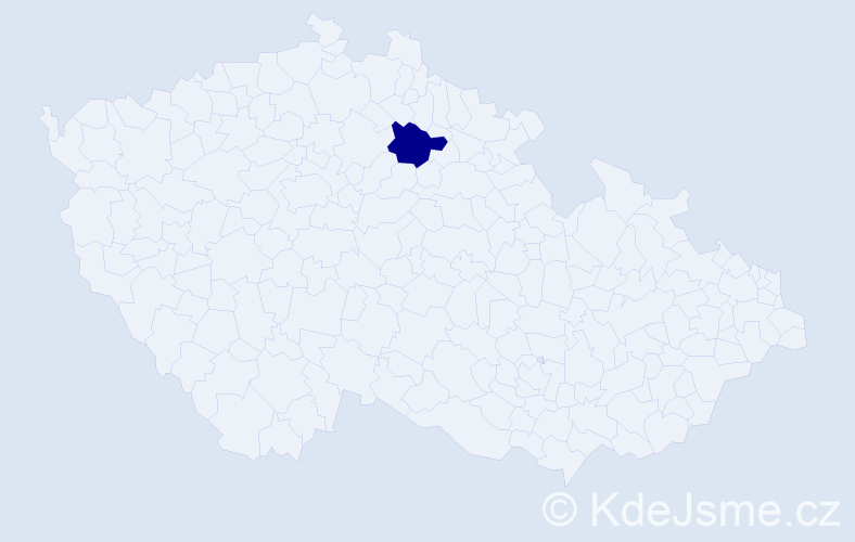 """Příjmení: '""""Gründlová Hadrbolcová""""', počet výskytů 1 v celé ČR"""
