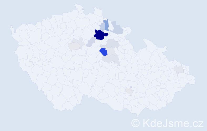 Příjmení: 'Chaloupský', počet výskytů 45 v celé ČR
