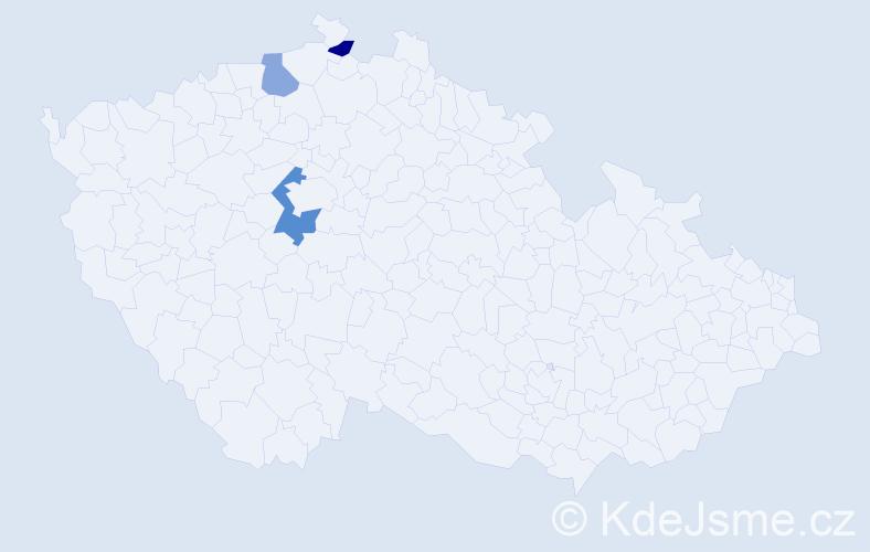 Příjmení: 'Benecová', počet výskytů 4 v celé ČR