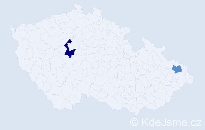 Příjmení: 'Hábková', počet výskytů 2 v celé ČR
