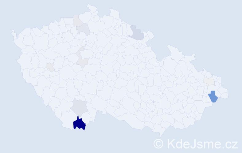 Příjmení: 'Beluský', počet výskytů 23 v celé ČR