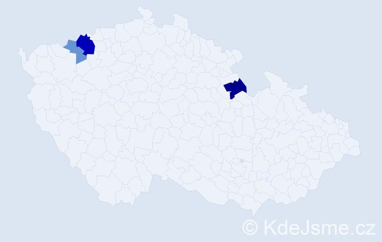Příjmení: 'Káčerík', počet výskytů 7 v celé ČR