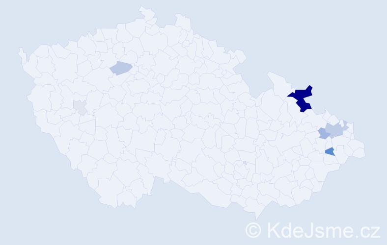 Příjmení: 'Chrenšťová', počet výskytů 21 v celé ČR