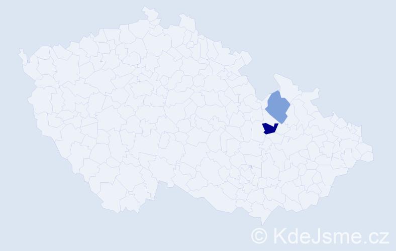 Příjmení: 'Láhrová', počet výskytů 4 v celé ČR