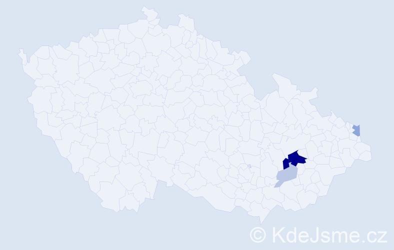 Příjmení: 'Behár', počet výskytů 13 v celé ČR