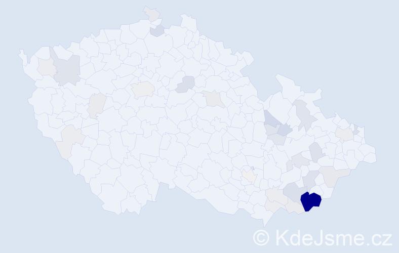 Příjmení: 'Bruštík', počet výskytů 131 v celé ČR