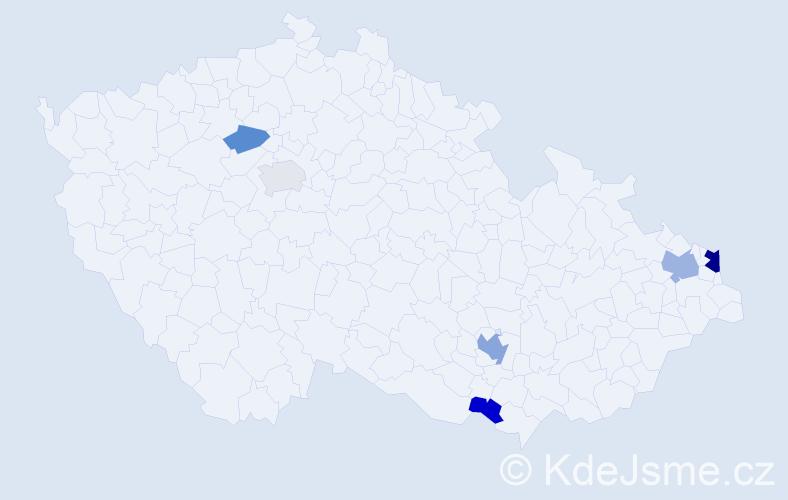 Příjmení: 'Gríger', počet výskytů 12 v celé ČR