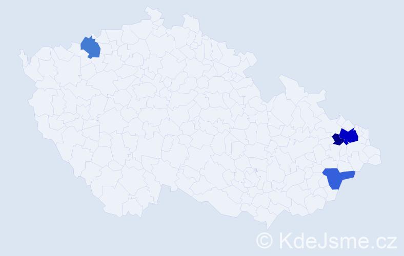 Příjmení: 'Laštíková', počet výskytů 22 v celé ČR