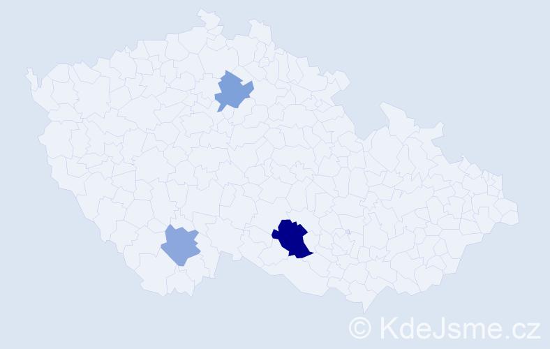 Příjmení: 'Geričová', počet výskytů 5 v celé ČR