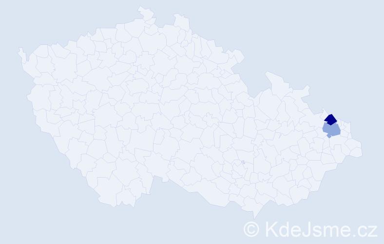 Příjmení: 'Kussá', počet výskytů 4 v celé ČR