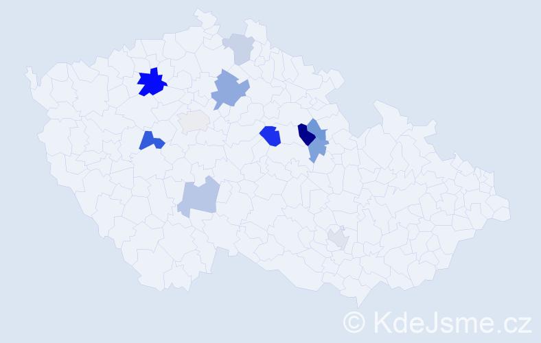 Příjmení: 'Khýn', počet výskytů 18 v celé ČR