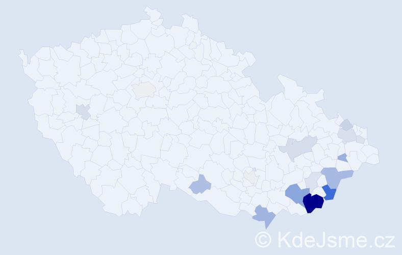 Příjmení: 'Bistrá', počet výskytů 45 v celé ČR