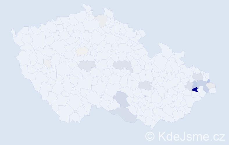 Příjmení: 'Horečka', počet výskytů 63 v celé ČR