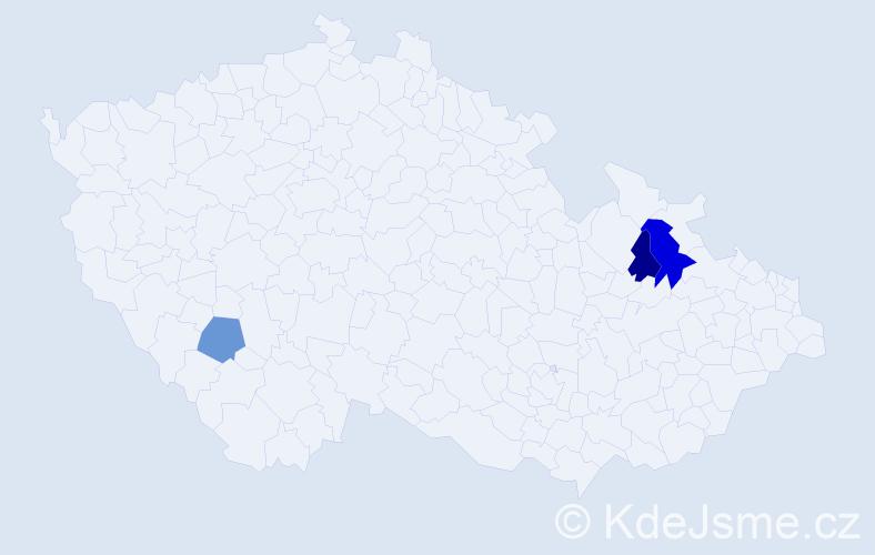 Příjmení: 'Kubíncová', počet výskytů 4 v celé ČR