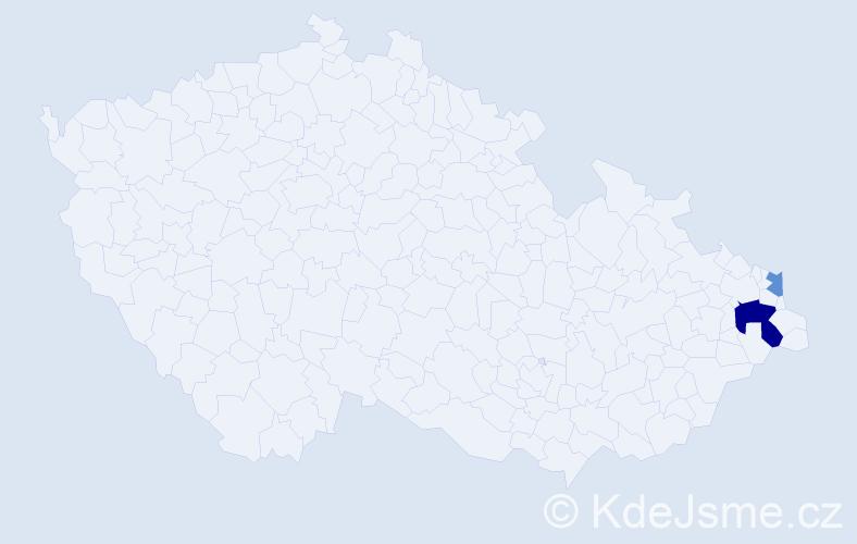 Příjmení: 'Harnůšková', počet výskytů 4 v celé ČR